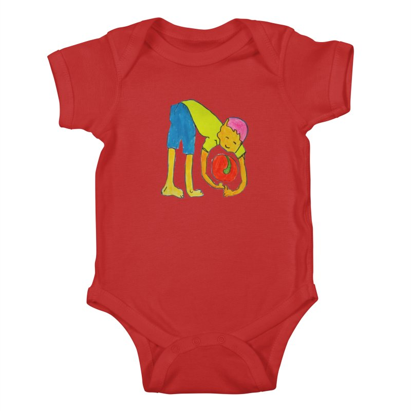 Ball and Boy Kids Baby Bodysuit by Darabem's Artist Shop. Darabem Collection