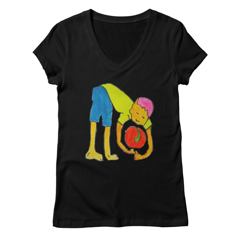 Ball and Boy Women's V-Neck by Darabem's Artist Shop. Darabem Collection