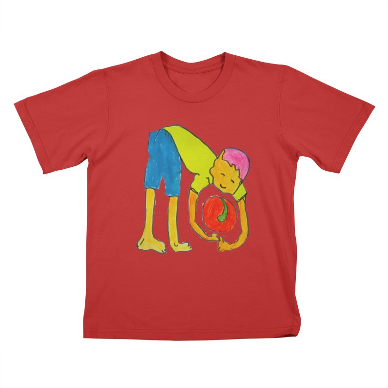 Ball and Boy Kids T-Shirt by Darabem's Artist Shop. Darabem Collection