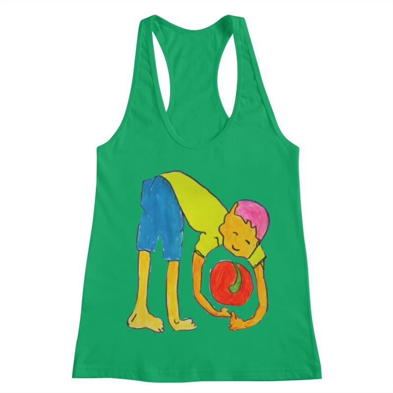Ball and Boy Women's Racerback Tank by Darabem's Artist Shop. Darabem Collection