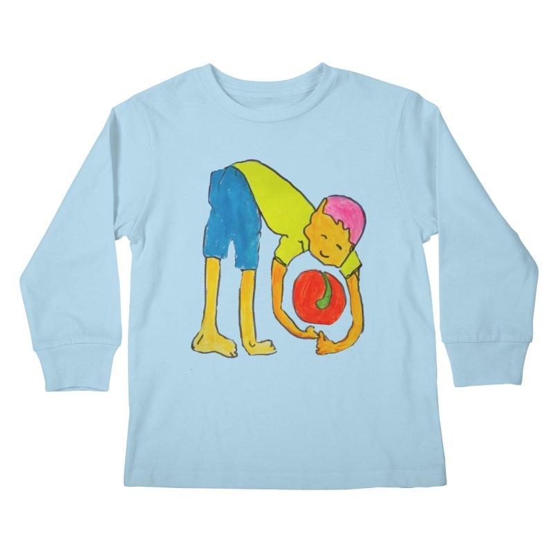 Ball and Boy Kids Longsleeve T-Shirt by Darabem's Artist Shop. Darabem Collection