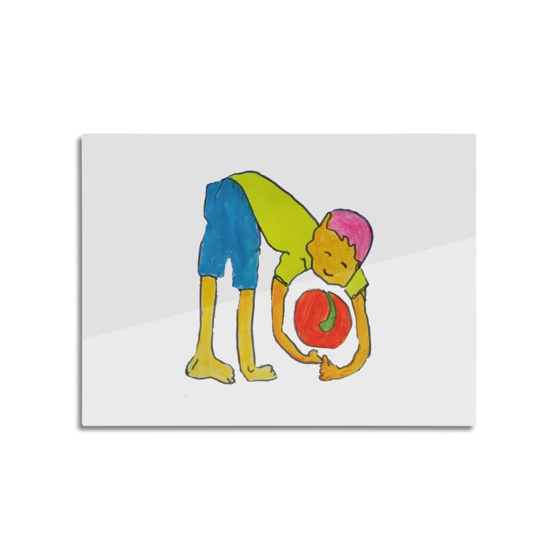 Ball and Boy Home Mounted Aluminum Print by Darabem's Artist Shop. Darabem Collection