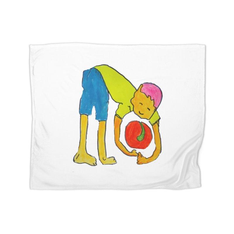 Ball and Boy Home Fleece Blanket Blanket by Darabem's Artist Shop. Darabem Collection