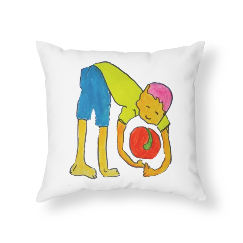 Ball and Boy Home Throw Pillow by Darabem's Artist Shop. Darabem Collection