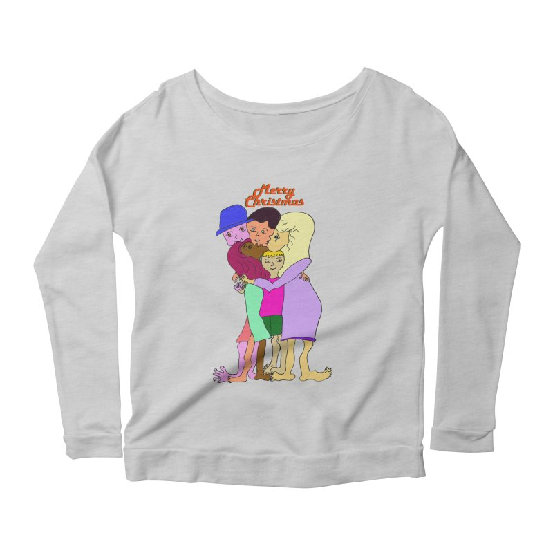 Family Christmas Women's Scoop Neck Longsleeve T-Shirt by Darabem's Artist Shop. Darabem Collection