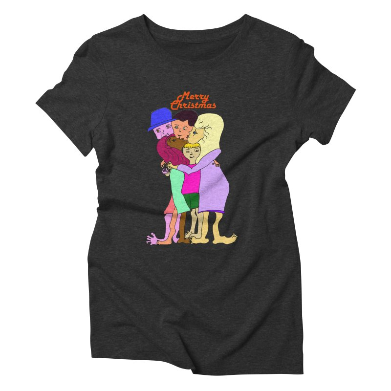 Family Christmas Women's Triblend T-Shirt by Darabem's Artist Shop. Darabem Collection
