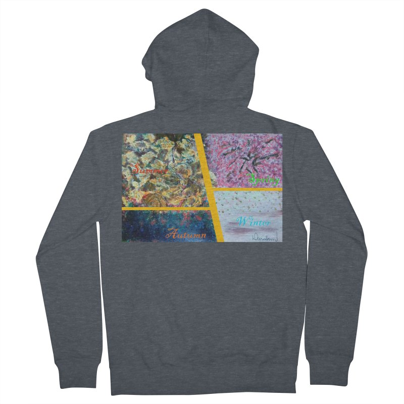The Four Seasons Matsuo Basho Men's French Terry Zip-Up Hoody by Darabem's Artist Shop. Darabem Collection