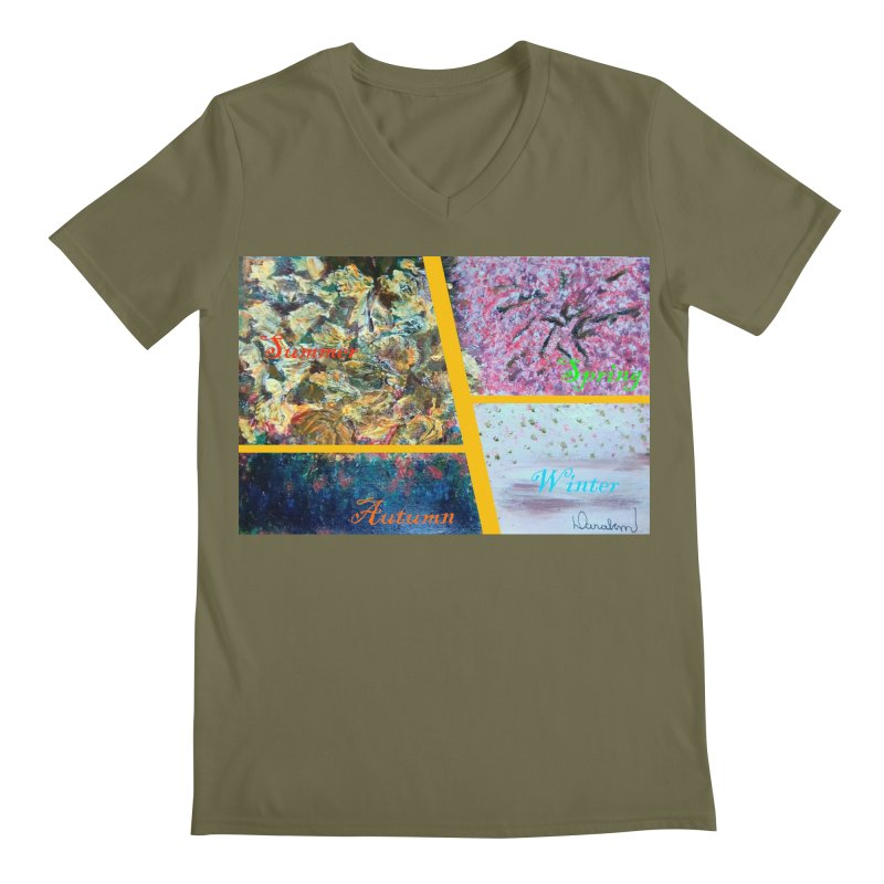 The Four Seasons Matsuo Basho Men's Regular V-Neck by Darabem's Artist Shop. Darabem Collection