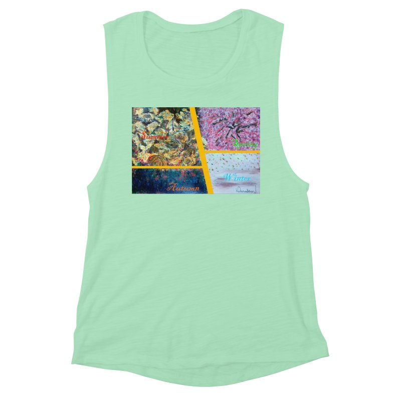 The Four Seasons Matsuo Basho Women's Muscle Tank by Darabem's Artist Shop. Darabem Collection