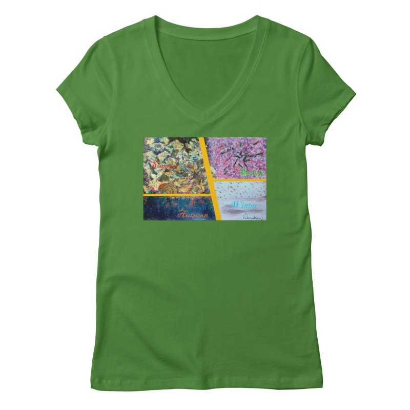 The Four Seasons Matsuo Basho Women's V-Neck by Darabem's Artist Shop. Darabem Collection