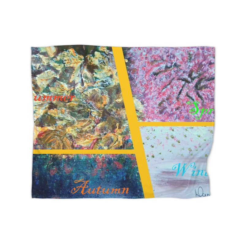 The Four Seasons Matsuo Basho Home Fleece Blanket Blanket by Darabem's Artist Shop. Darabem Collection