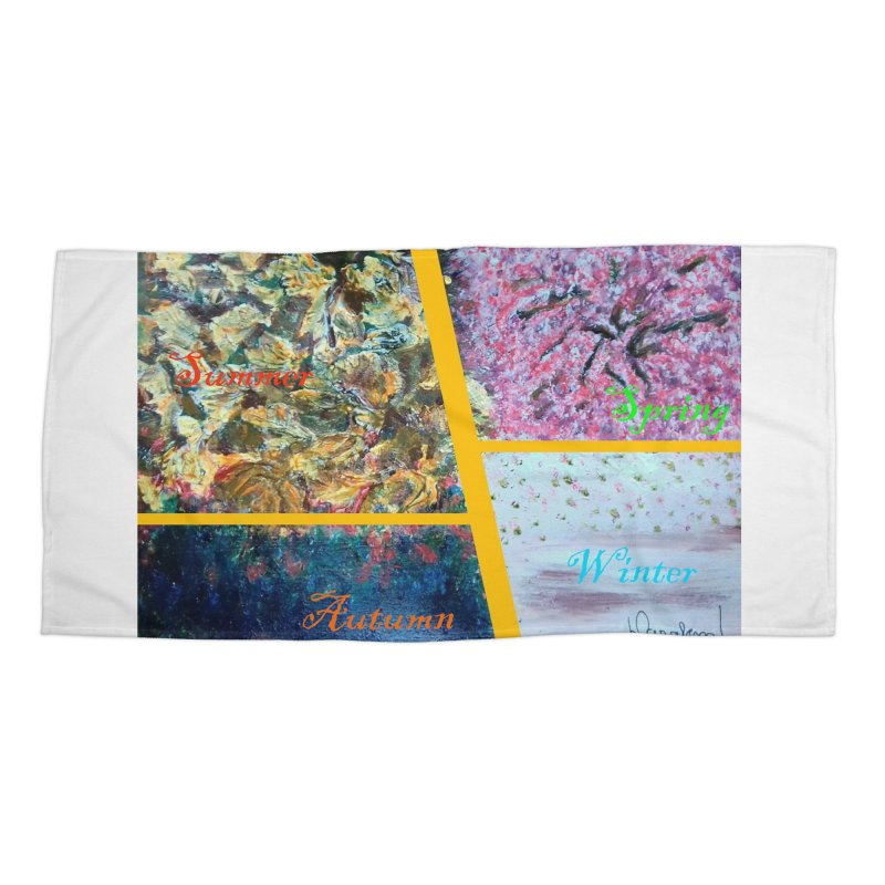 The Four Seasons Matsuo Basho Accessories Beach Towel by Darabem's Artist Shop. Darabem Collection