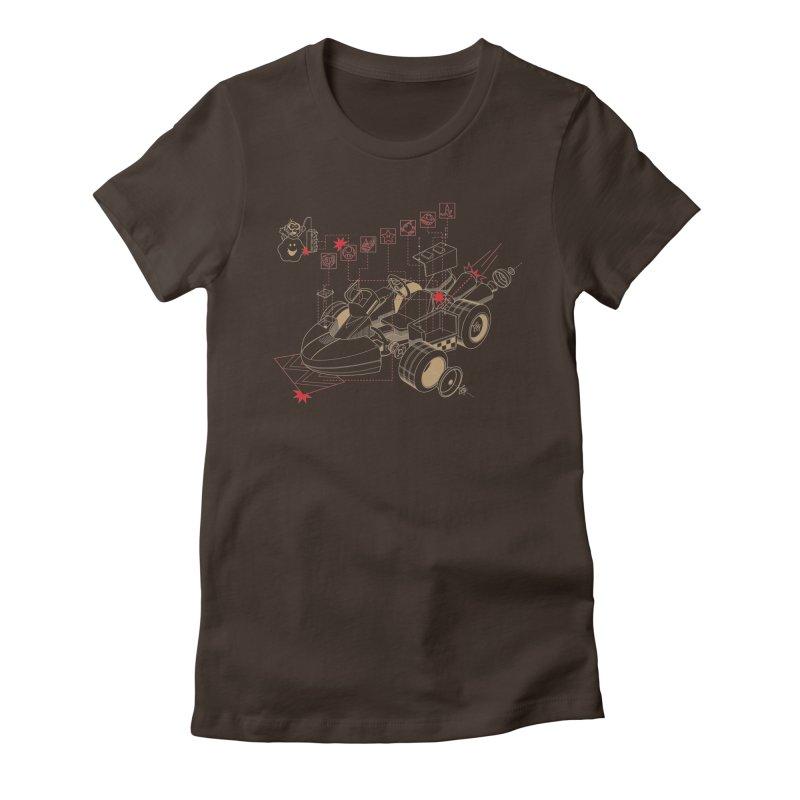 Kart Blue Print Women's Fitted T-Shirt by darkchoocoolat's Artist Shop