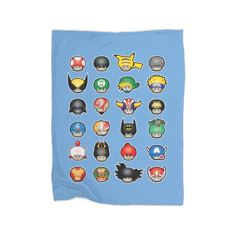 Know your Mushrooms Home Fleece Blanket Blanket by darkchoocoolat's Artist Shop