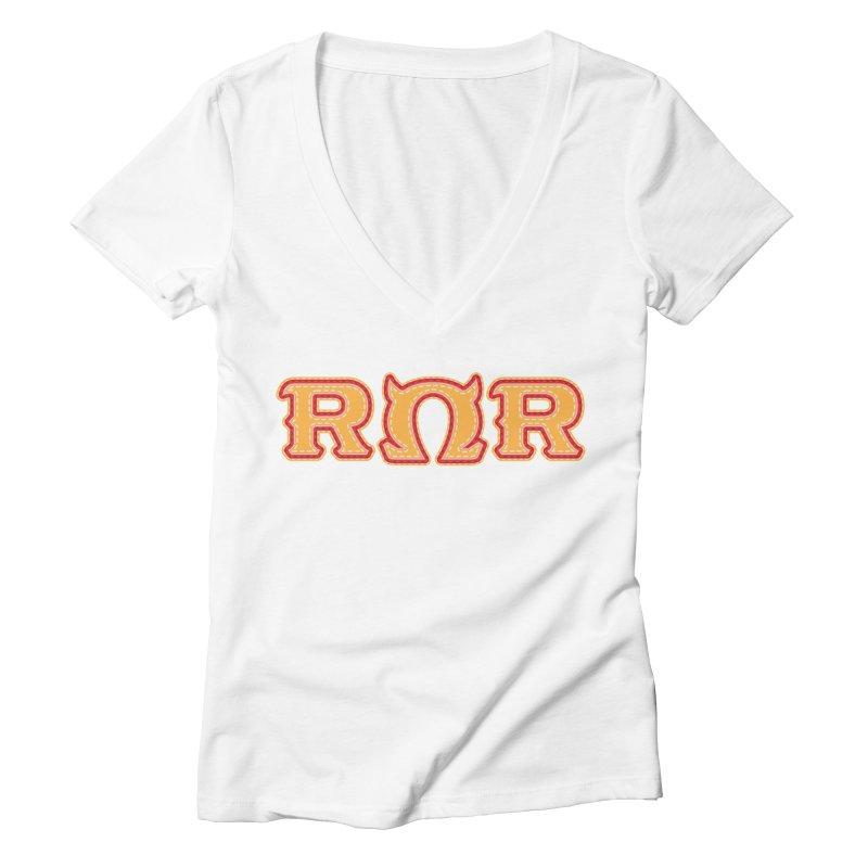 Roar Omega Roar Women's Deep V-Neck V-Neck by darkchoocoolat's Artist Shop