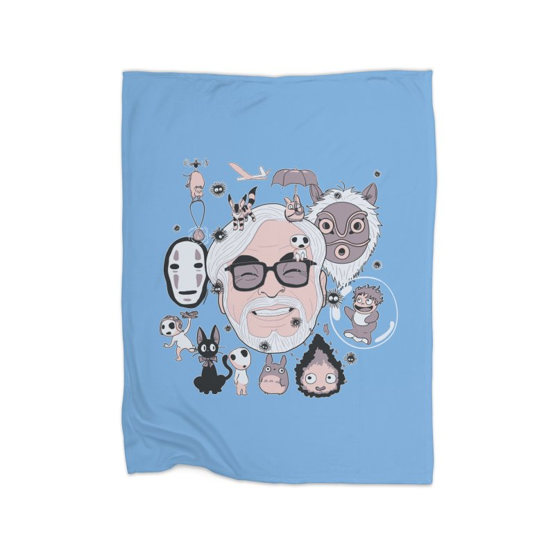 Miyazaki Tribute Home Fleece Blanket Blanket by darkchoocoolat's Artist Shop