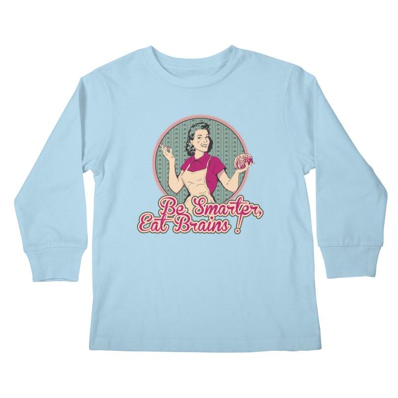 Eat Brains Kids Longsleeve T-Shirt by darkchoocoolat's Artist Shop
