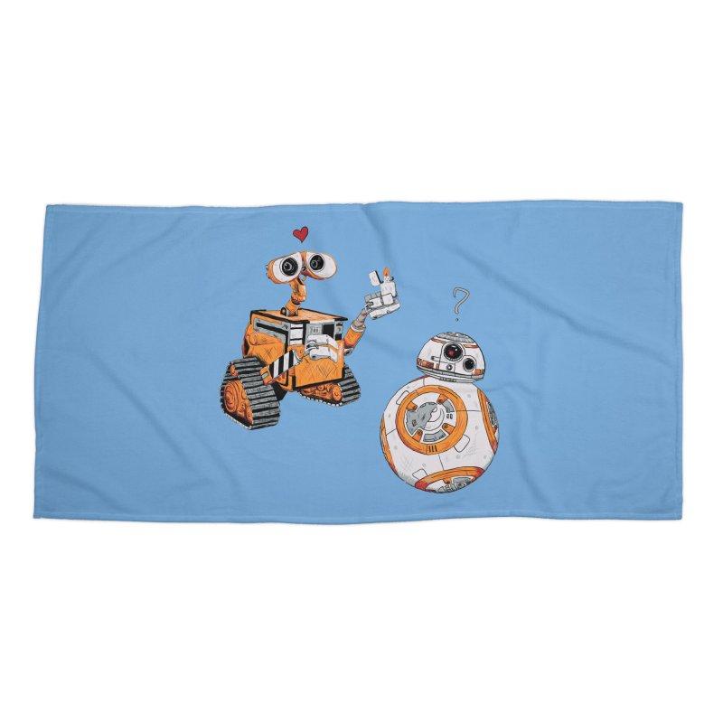 2 Robots for 1 Lighter Accessories Beach Towel by darkchoocoolat's Artist Shop