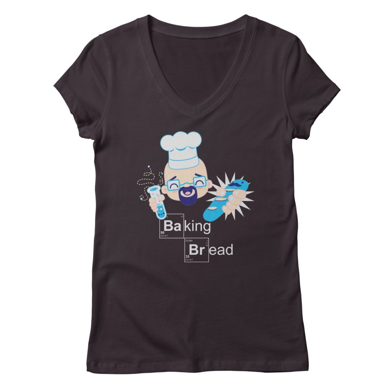 Baking Bread Women's Regular V-Neck by darkchoocoolat's Artist Shop