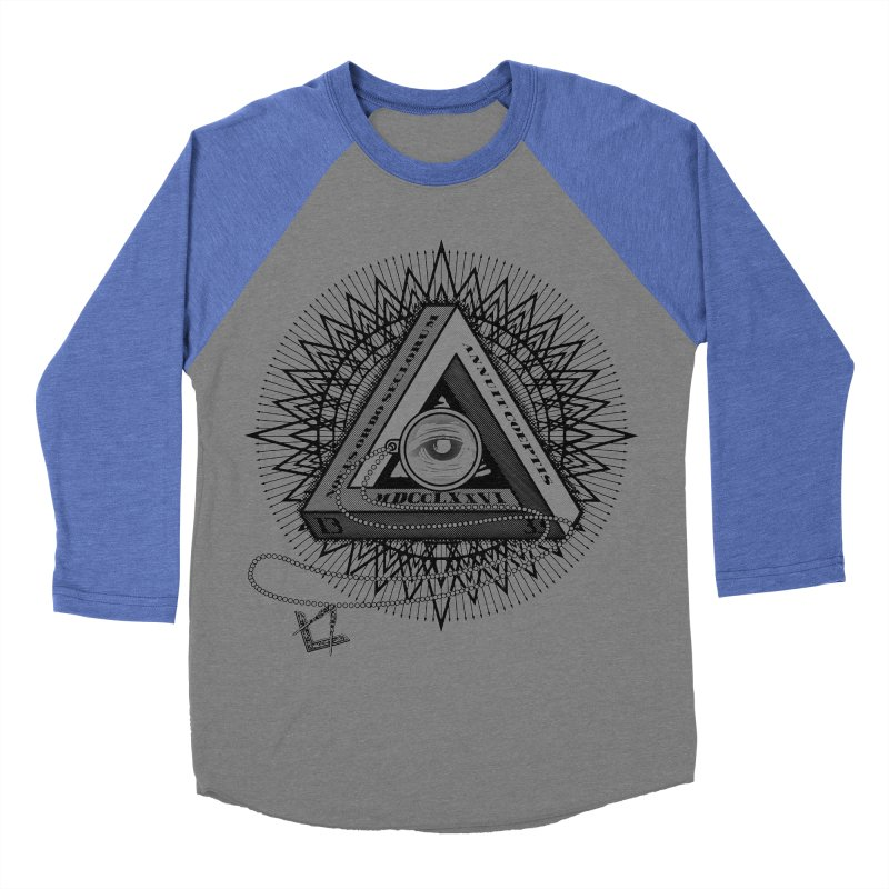 All Seeing Eye Black Men's Baseball Triblend T-Shirt by darkchoocoolat's Artist Shop