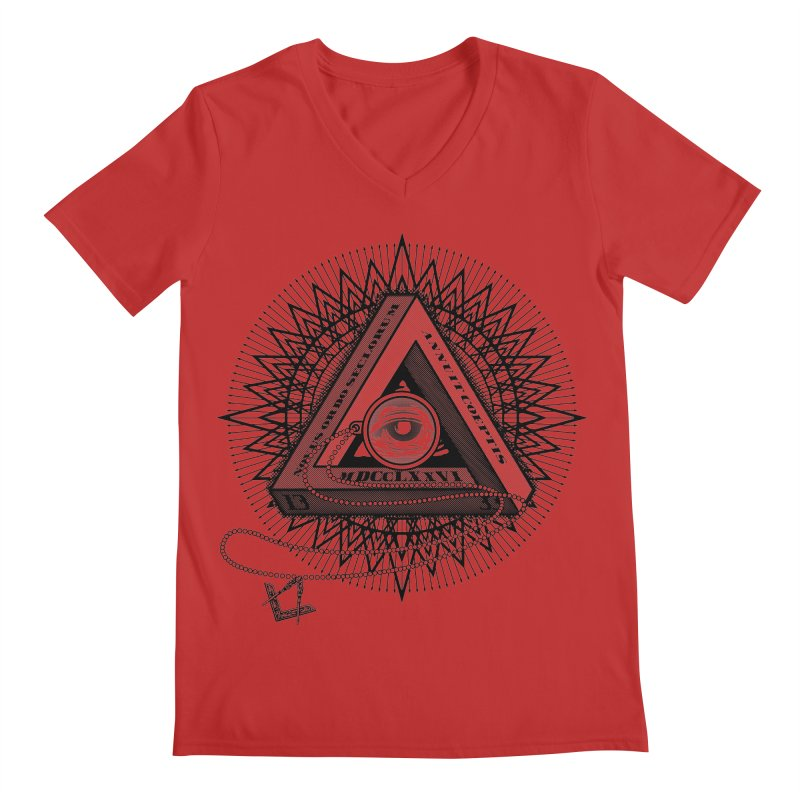 All Seeing Eye Black Men's Regular V-Neck by darkchoocoolat's Artist Shop