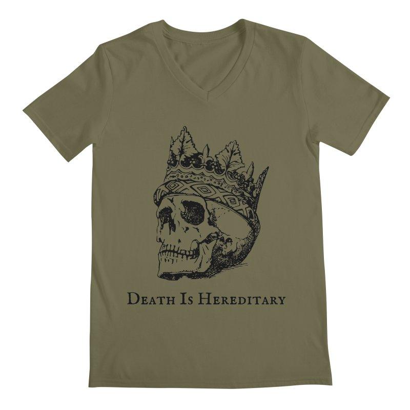 Death Is Hereditary (Black Ink) Men's Regular V-Neck by Dark Helix's Artist Shop