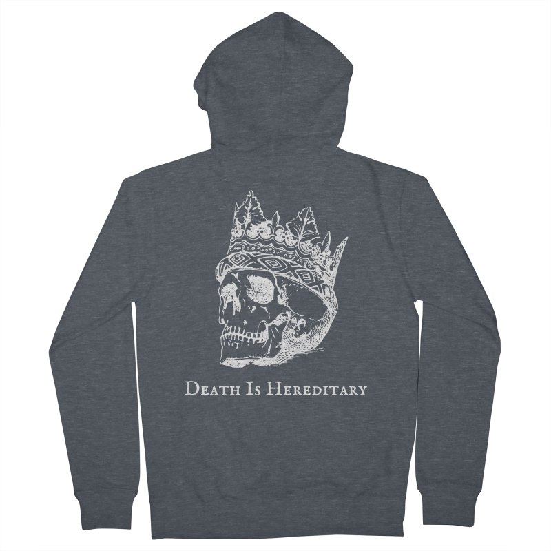 Death Is Hereditary (White Ink) Women's French Terry Zip-Up Hoody by Dark Helix's Artist Shop