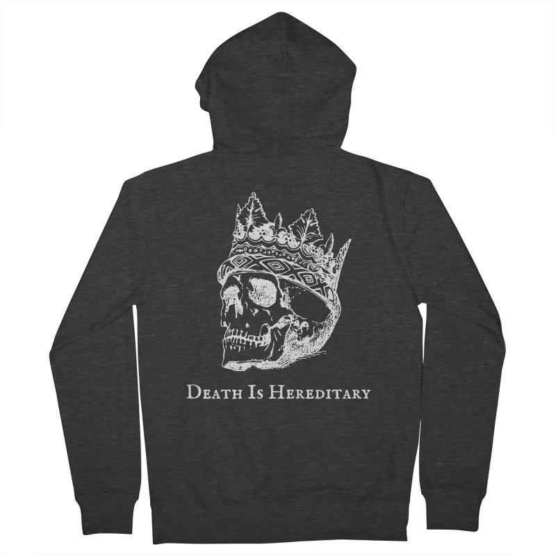 Death Is Hereditary (White Ink) Men's French Terry Zip-Up Hoody by Dark Helix's Artist Shop