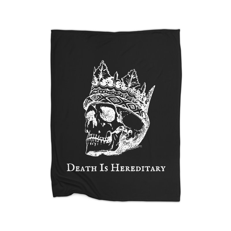 Death Is Hereditary (White Ink) Home Fleece Blanket Blanket by Dark Helix's Artist Shop