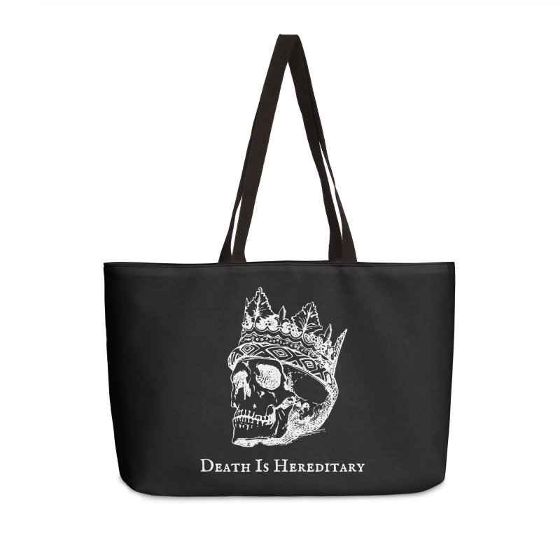 Death Is Hereditary (White Ink) Accessories Weekender Bag Bag by Dark Helix's Artist Shop