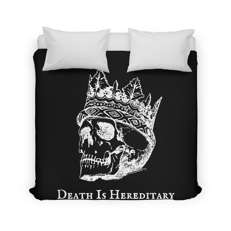 Death Is Hereditary (White Ink) Home Duvet by Dark Helix's Artist Shop