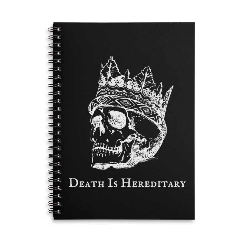 Death Is Hereditary (White Ink) Accessories Lined Spiral Notebook by Dark Helix's Artist Shop