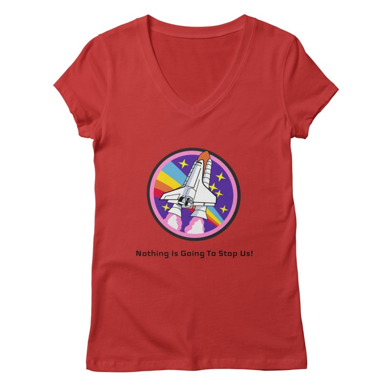 Optimistic Rocket Women's Regular V-Neck by Dark Helix's Artist Shop