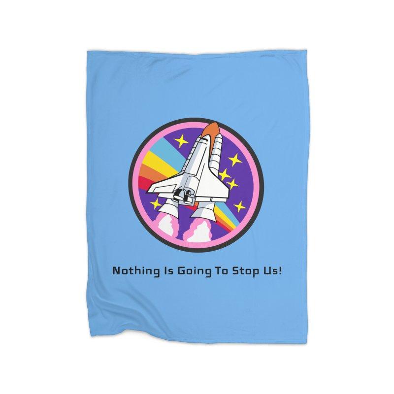 Optimistic Rocket Home Fleece Blanket Blanket by Dark Helix's Artist Shop