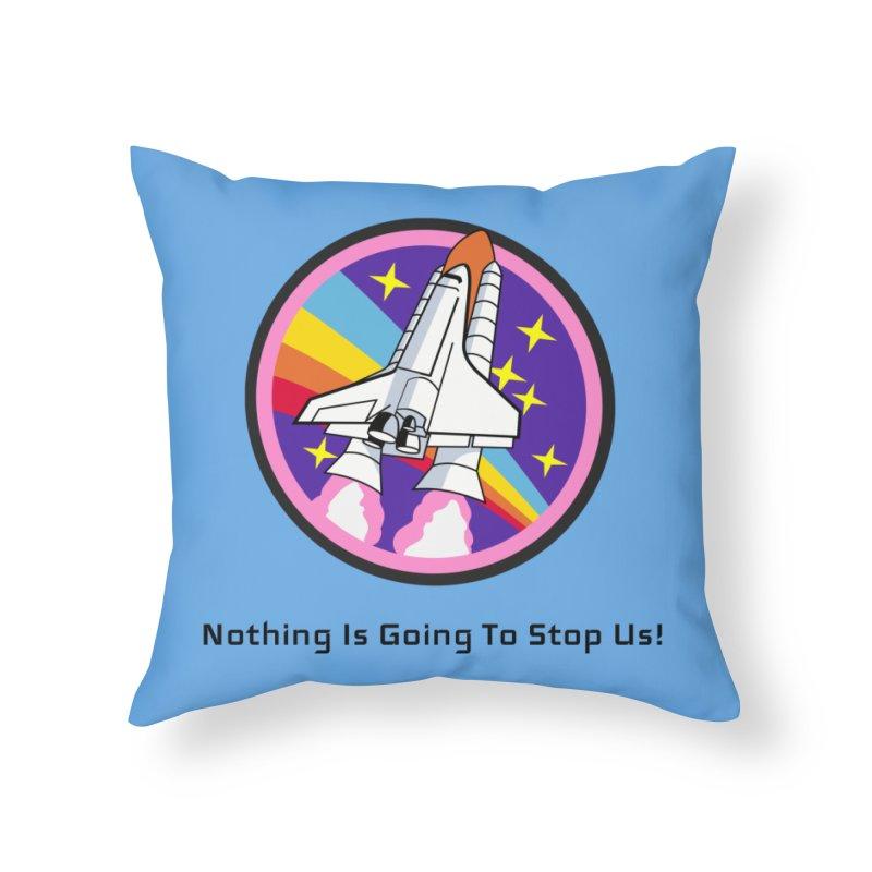 Optimistic Rocket Home Throw Pillow by Dark Helix's Artist Shop
