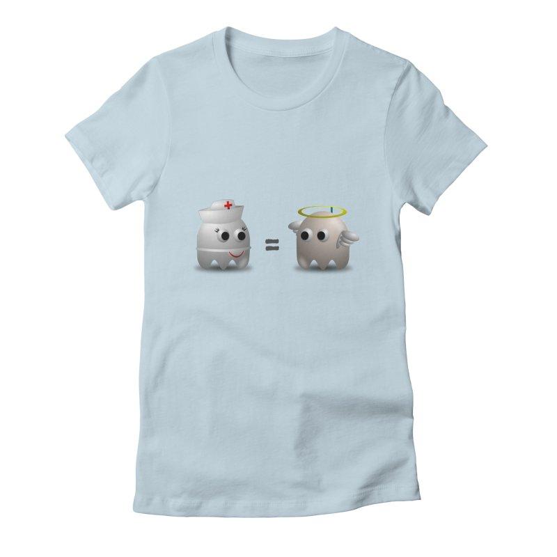 Nurse = Angel Women's Fitted T-Shirt by Dark Helix's Artist Shop