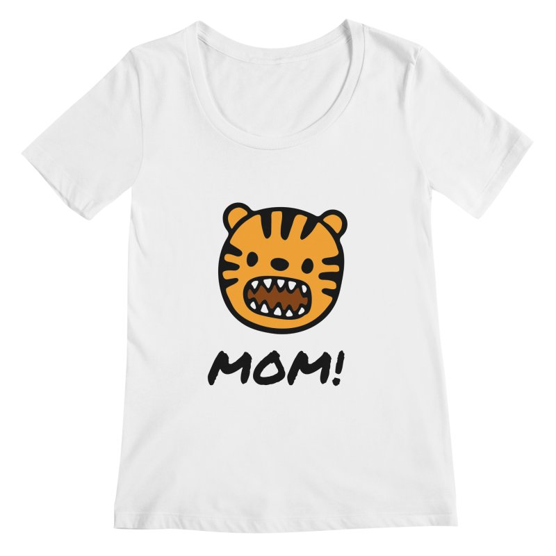 Tiger Mom Women's Regular Scoop Neck by Dark Helix's Artist Shop