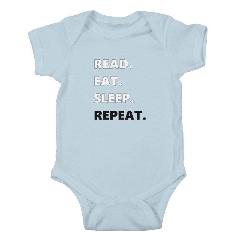 READ. EAT. SLEEP. REPEAT. Kids Baby Bodysuit by Dark Helix's Artist Shop