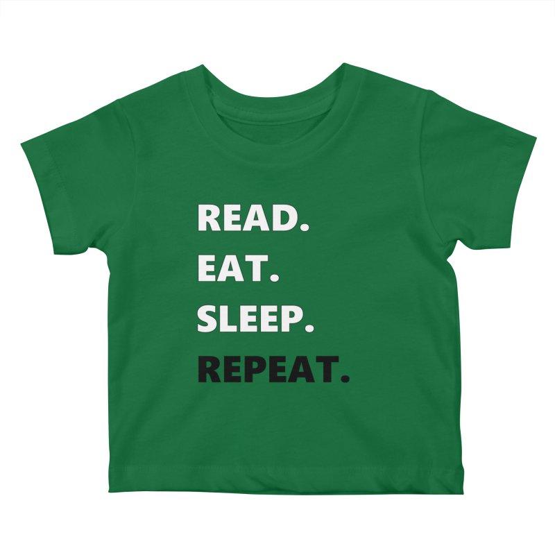 READ. EAT. SLEEP. REPEAT. Kids Baby T-Shirt by Dark Helix's Artist Shop