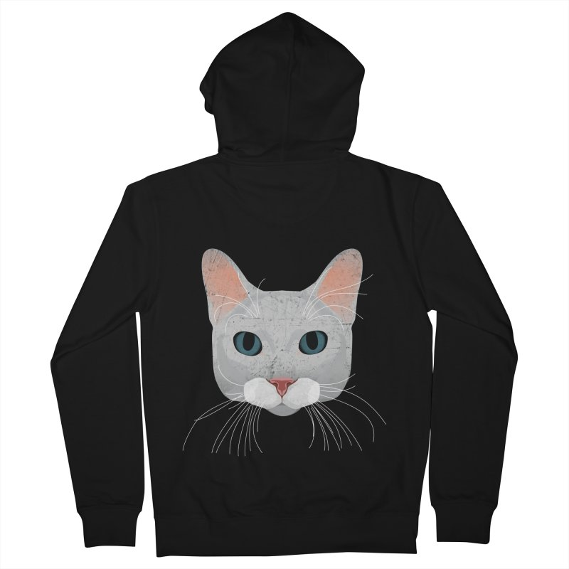 Cat Ramona Men's French Terry Zip-Up Hoody by darkodjordjevic's Artist Shop