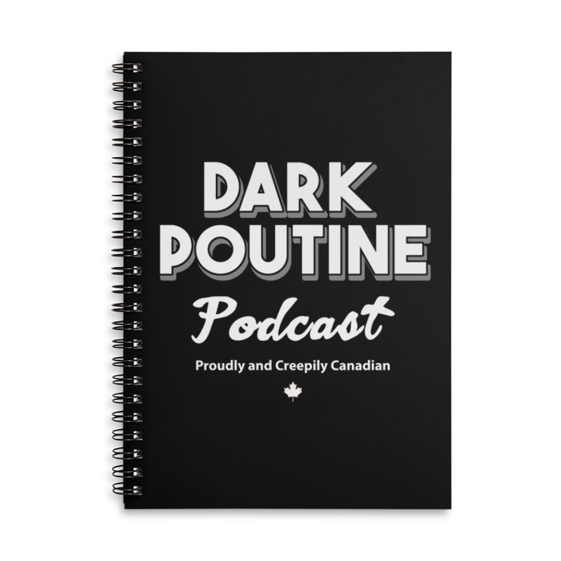 Old School Dark Poutine Logo Accessories Lined Spiral Notebook by Dark Poutine Podcast Swag