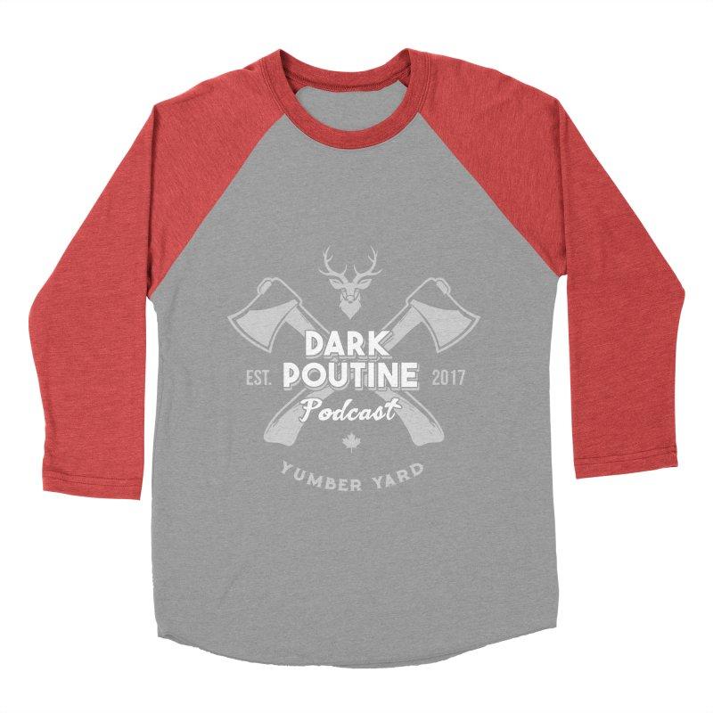 Yumber Yard Logo Men's Baseball Triblend Longsleeve T-Shirt by Dark Poutine Podcast Swag