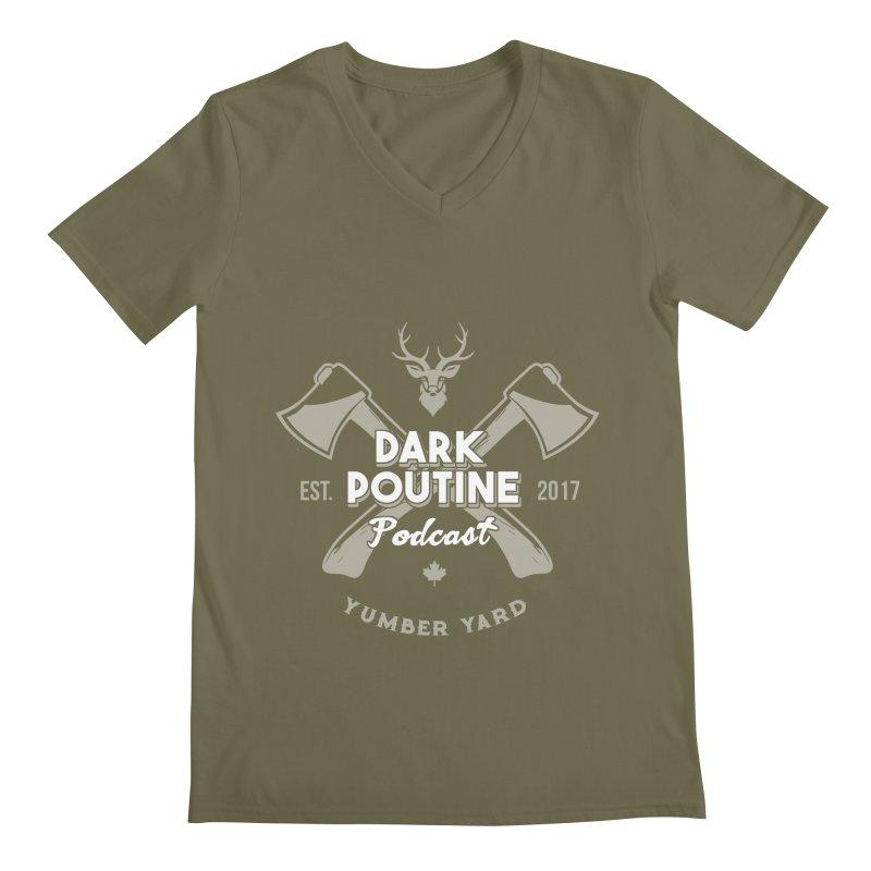 Yumber Yard Logo Men's Regular V-Neck by Dark Poutine Podcast Swag