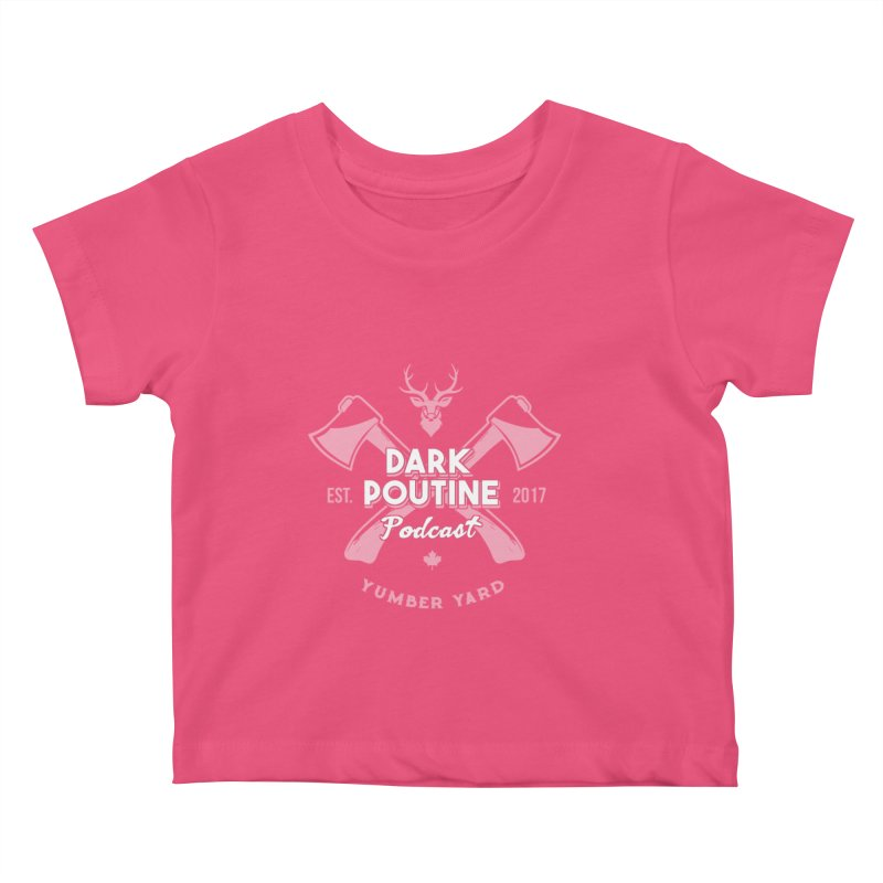 Yumber Yard Logo Kids Baby T-Shirt by Dark Poutine Podcast Swag