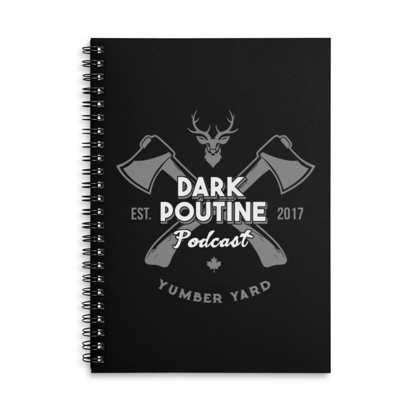 Yumber Yard Logo Accessories Lined Spiral Notebook by Dark Poutine Podcast Swag