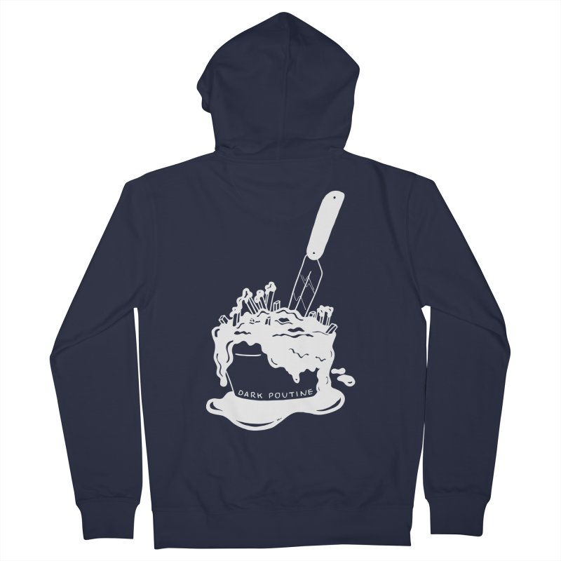 Madison's Dark Poutine - WHITE Men's French Terry Zip-Up Hoody by Dark Poutine Podcast Swag