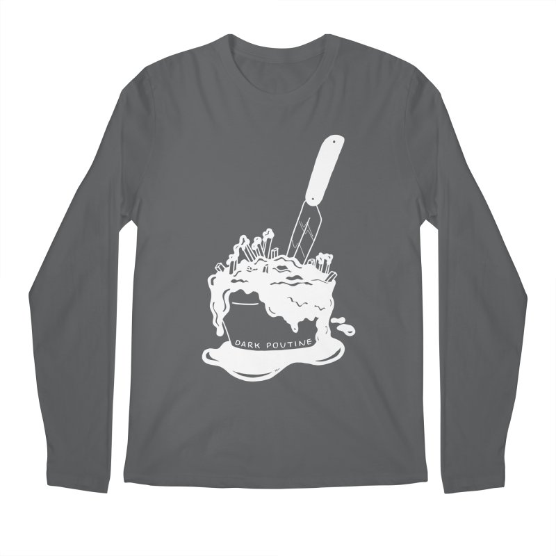 Madison's Dark Poutine - WHITE Men's Regular Longsleeve T-Shirt by Dark Poutine Podcast Swag