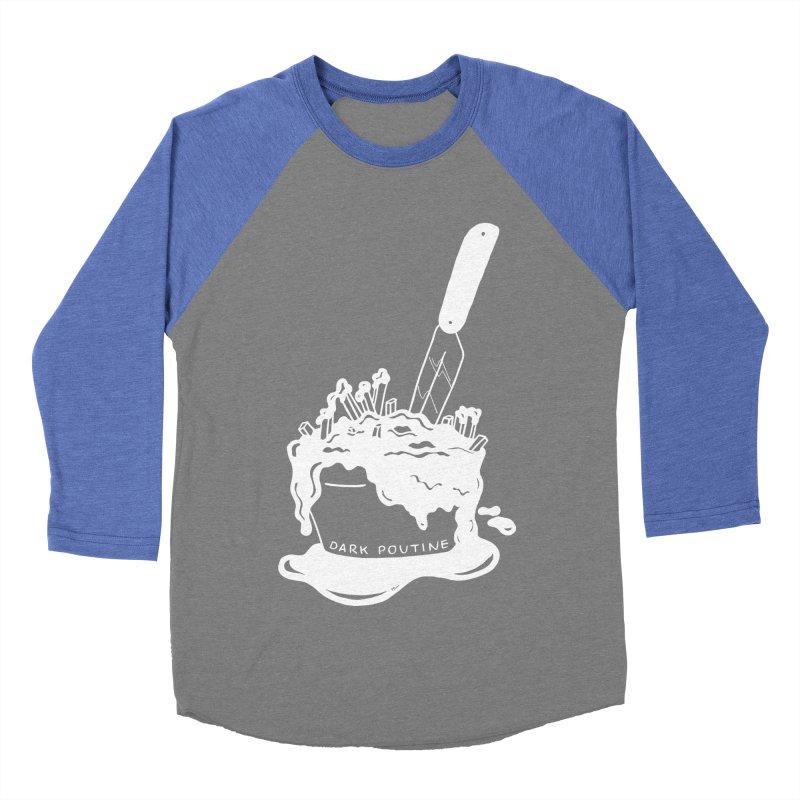 Madison's Dark Poutine - WHITE Men's Baseball Triblend Longsleeve T-Shirt by Dark Poutine Podcast Swag