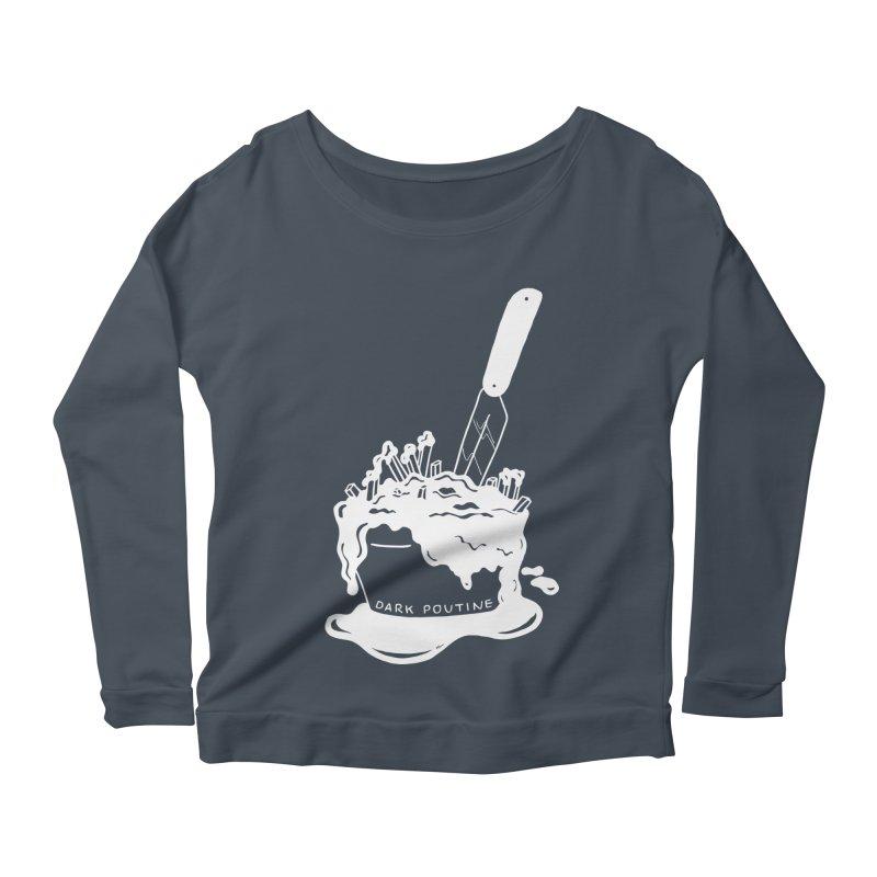 Madison's Dark Poutine - WHITE Women's Scoop Neck Longsleeve T-Shirt by Dark Poutine Podcast Swag