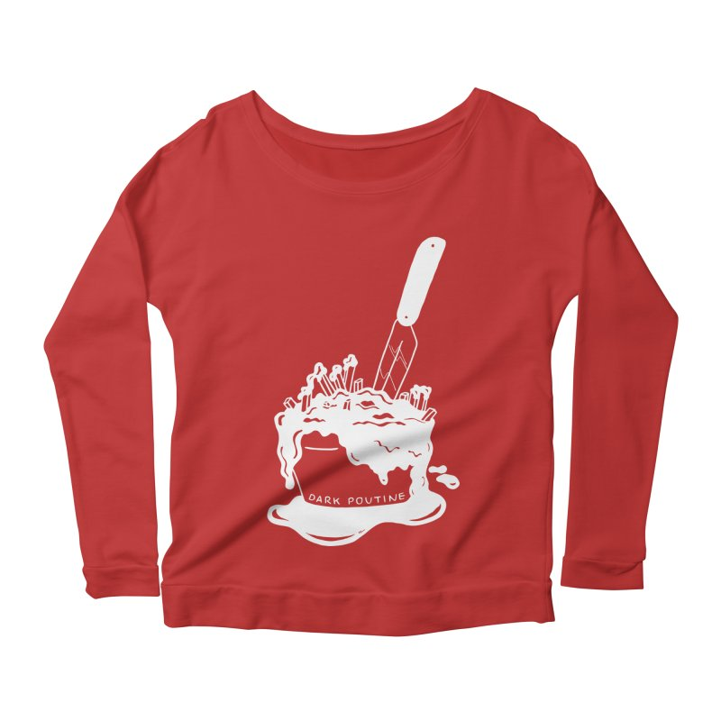 Madison's Dark Poutine - WHITE Women's Scoop Neck Longsleeve T-Shirt by Dark Poutine Podcast Swag